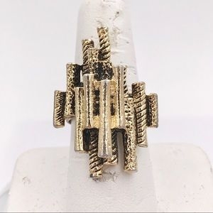 Vintage Organ Pipe Abstract Statement Ring